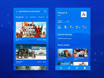 PSN Redesign #2 simple psn game design blue profiles list ux ui app ios android