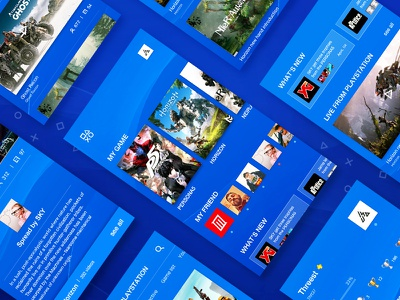 PSN Redesign  ux ui simple psn redesign list ios game design blue app android