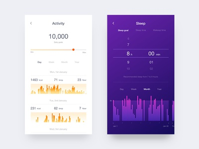 Fitness app #2 setting color ux ui sleep run ios icon fitness clean app android