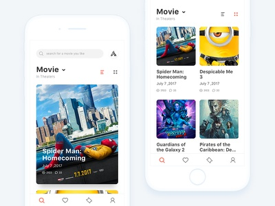 """Movie app project """"Seen"""" discuss film ticket ux ui ios icon movie color clean app android"""