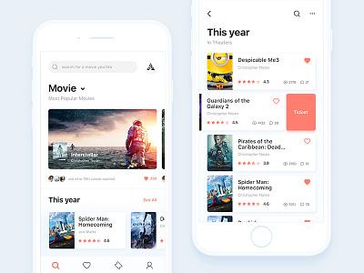 Movie app Seen #2 android app clean color movie icon ios ui ux ticket film popular