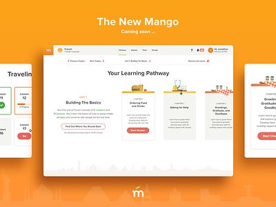 The New Mango Web App illustration learning cards ux ui design website app languages mango