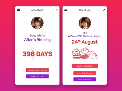 Countdown Timer for Birthday's (Daily UI 014)