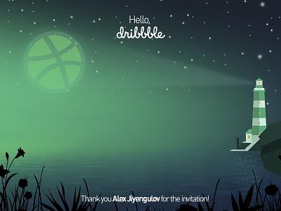 Hello, Dribbble! hello dribbble first shot lighthouse