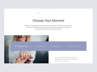 Spence Diamonds platform icon navigation interaction design interaction layout design grid ui website