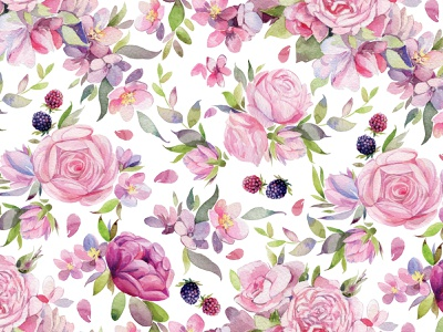 Watercolor floral pattern. watercolor pattern watercolor painting textile surface design spring plant seamless pattern flowers illustration fabric pattern fabric commission baby pink baby clothes flowers watercolor