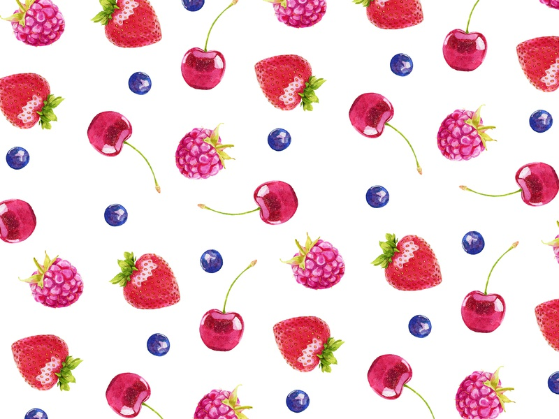 Watercolor berry pattern. watercolor berry watercolor painting watercolor fabric pattern baby clothes home clothes commission commissioned surface design textile illustration design plant seamless fruit illustration fabric watercolor pattern