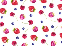 Watercolor berry pattern.