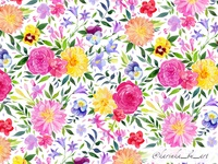 Watercolor flowers pattern.