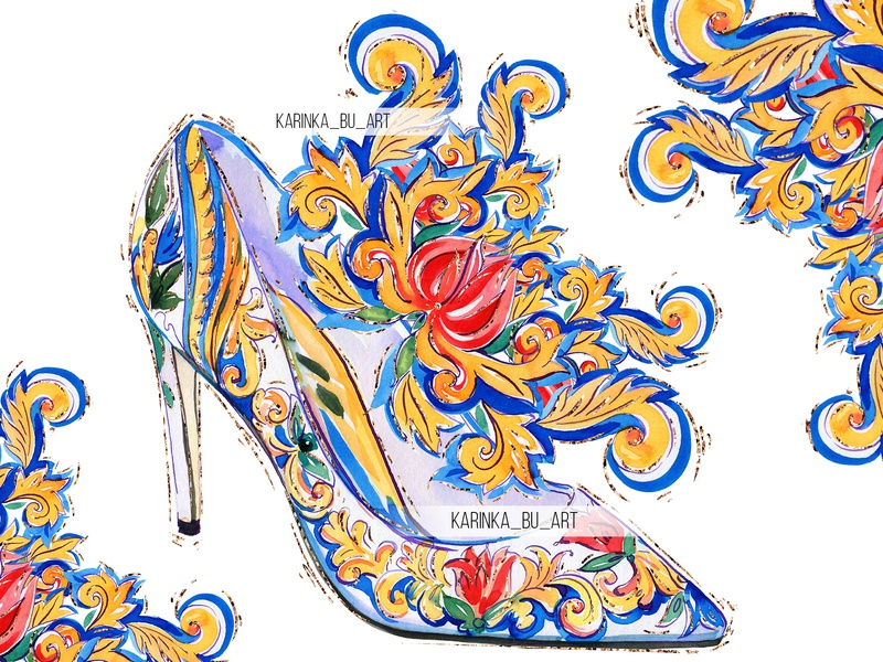 Watercolor Dolce & Gabbana high heels hello dribble printshop watercolor flowers girly feet style texture high-heel shop inspiration fashion colors heels illustration fashion illustration glitter adobe photoshop watercolor pattern dolce  gabbana surface design watercolor painting