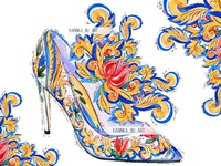 Watercolor Dolce & Gabbana high heels