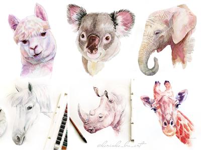Watercolor animals. Koala, llama, elephant,rhino, giraffe...