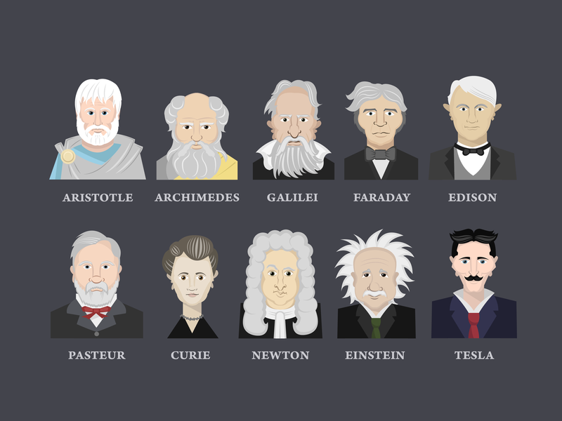 Great minds in history science person ai illustrator character poster illustration vector