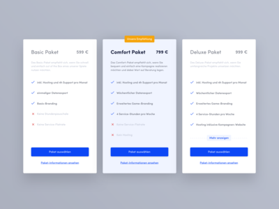 Pricing Table - Focus on recommendation