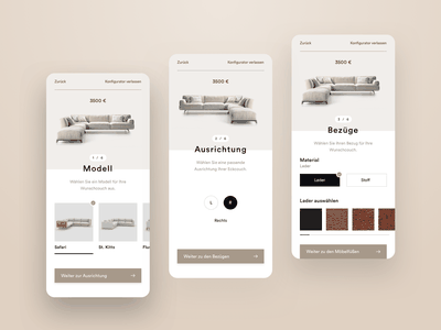 Couch Configurator ui  ux design mobile design mobile ui mobile ui sofa furniture store config configurator clean app furniture app furniture couch