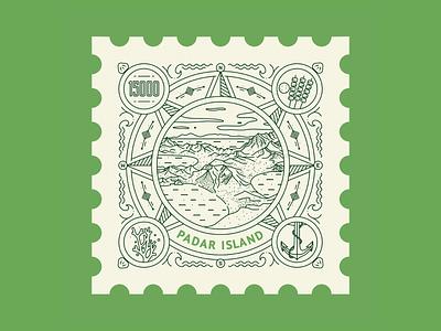 Padar Island, Indonesia 🇮🇩 lineart postal mail postage dragon komodo island komodo island indonesia illustration stamp