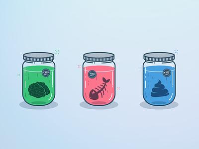 Stupid Business Ideas product india yatish asthana poop brain fish jar idea instamojo illustration vector business