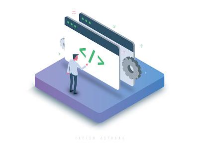 API Integration ux instamojo india yatish asthana 3d vector illustration code ui integration api isometric