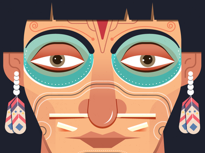 Native American yatish asthana india traditional folk feather face portrait character design red indian tribe tribal native american