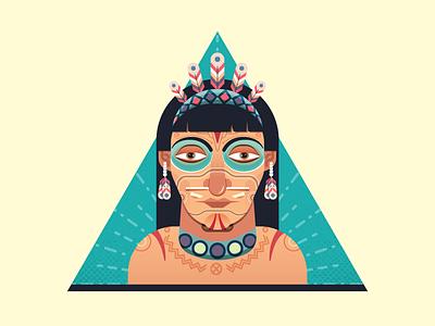 Native American human tribal yatish asthana vector portrait illustration red indian native american character avatar