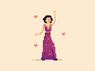 Cuckoo dancer girl vector illustration yatish asthana cuckoo india sacred games netflix character design avatar pixel art