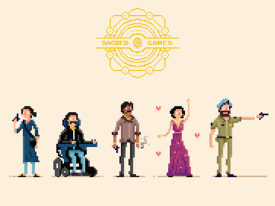 Sacred Games - Pixel Art Characters cop narcos gangster vector illustration yatish asthana india sacred games netflix character design avatar pixel art