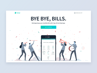 Bye Bye, Bills. design website character app utility bill payment illustration header ui simpl landing page