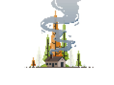 Cabin In the Forest tree yatish asthana landscape cabin smoke forest game art 8bit pixel dailies pixel art vector illustration