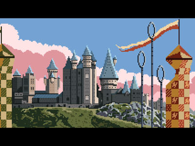 Hogwarts ~ Wizarding World Landscape castle quidditch 8-bit yatish asthana pixel dailies vector landscape pixel art magic hogwarts harry potter illustration