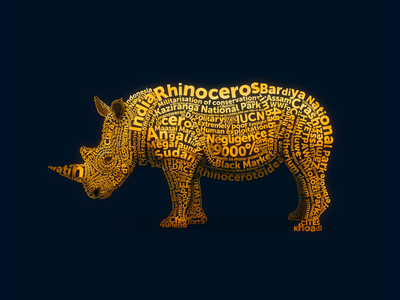 Rhinoceros 🦏 portait animal endangered species wwf yatish asthana wildlife rhinoceros typography illustration