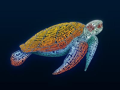 Sea Turtle 🐢 earth yatish asthana sea creature wwf ocean india endangered species wildlife typogaphy sea turtle illustration