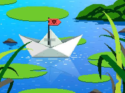 Pirate Ship 🏴☠️ india childhood yatish asthana lake pixel dailies illustration pond paperboat pirate ship game art 8 bit pixel art