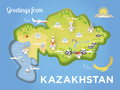 Greetings from Kazakhstan 2017 expo almaty astana shot country postcard illustration map kazakhstan