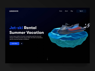 Sports Landing page animation - Jet-ski Rental Landing page landing design sports branding sports website motion design design animation design agency landing page cinema4d landing page motion interaction clean after effects animation clean ui 3d animation after effect