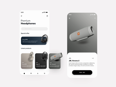 Headphone Store - 3D Product Animation 3d product design headphone 3d animation 3d product 3d motion interaction clean ui app motion app interface app interaction app animation animation design after effects animation after effect