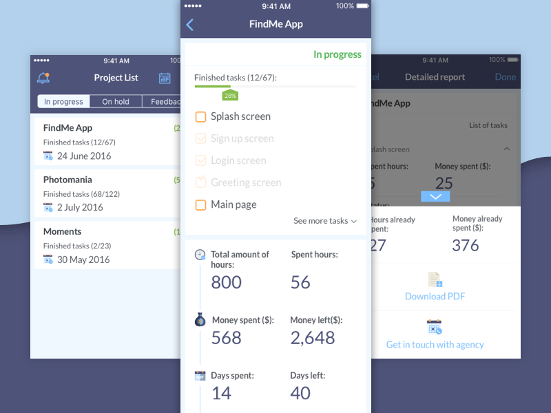 Project Viewer login app task organiser ios flat concept calendar notifications icons colors