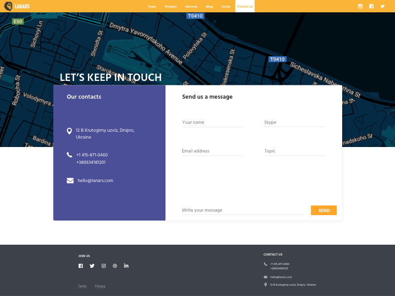 Contact Us by Veronika Lkv for lanars. on Dribbble