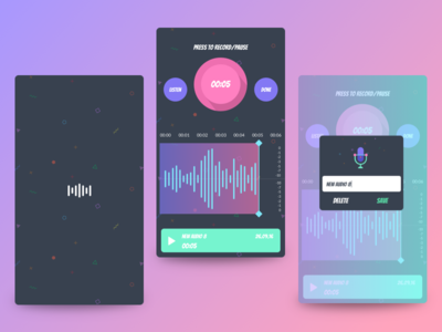 Audio Recorder colorful funny ux ui android ios bright colours play sounds recorder audio