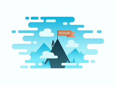 Climbing the design mountain alpinism graphic learn designer sky cloud climb flag design hill mountain illustration