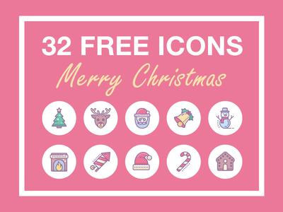Grab your Christmas gift! gingerbread christmas tree fireplace snowman reindeer santa gift christmas freebie free icons icon