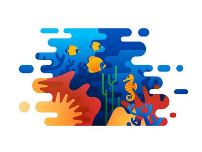 Under the Sea wave water ocean diver diving coral seaweed sea horse icon underwater fish sea