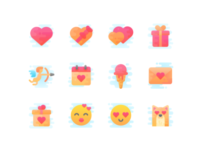 Freebie: Valentine's day icon set emoji ice cream heart cupid love valentines day icons free freebie set icon valentine