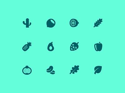 Material icons leaf avocado hops hazelnut cactus plants material free freebie set icons icon