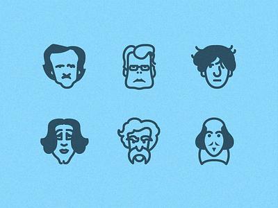 Writers in 50 px portrait writers writer literature ios ui flat free freebie set icons icon