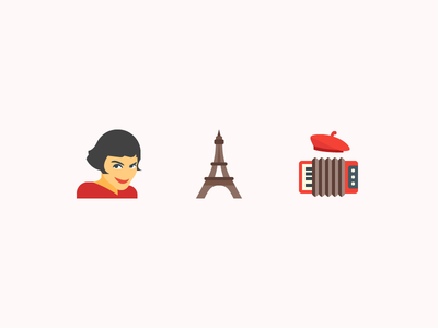 The most French things accordeon france paris eiffel tower amelie flat free freebie color set icons icon