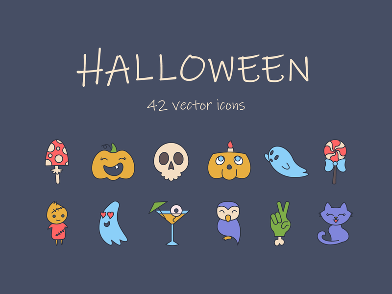 Halloween freebie set vector skull pumpkin ghost trick or treat spooky halloween freebie set free icons icon