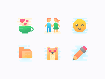 New icon set: to do, or not to do pencil folder couple cat wink smile cup coffee design set icons icon