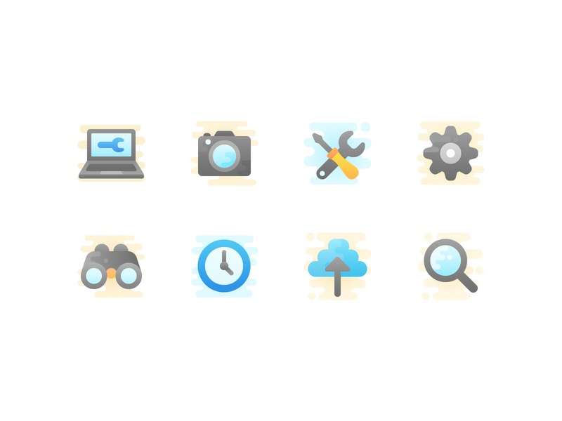 Technical icon set upload maintenance clock search settings camera laptop iconography cute vector icons icon