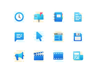 Icon set in progress movie save comment document notebook clock mail vector cute iconography icons icon