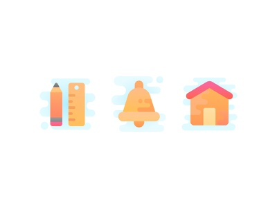 Icon set in progress edit ruler pencil notification bell home house cute vector iconography icons icon